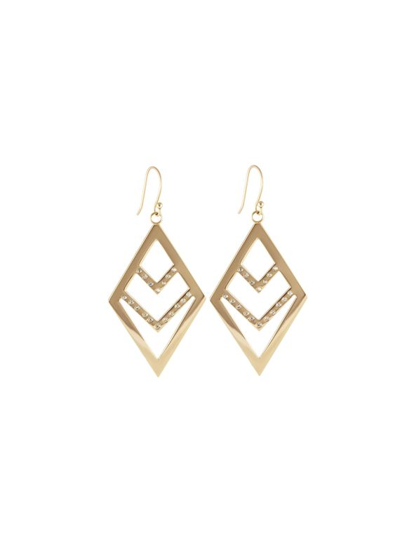 Gold Diamond Chevron Earrings
