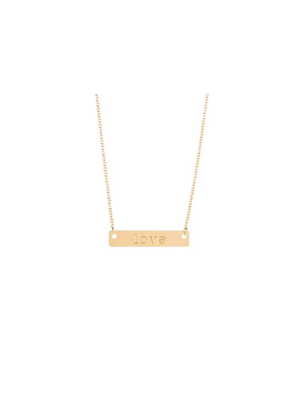 """Gold 'Love' Bar Necklace - 16"""""""